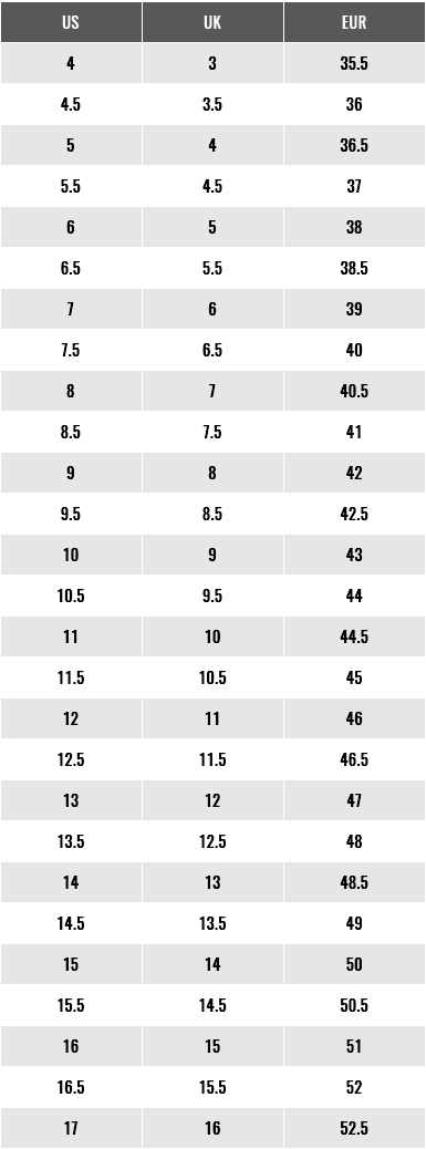 Footjoy Men Shoes Size Chart