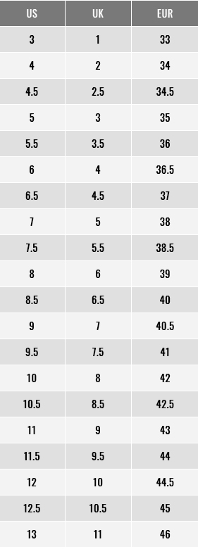 Footjoy Women Shoes Size Chart