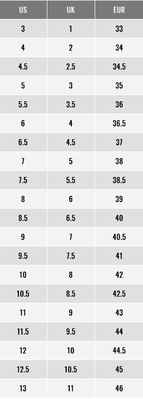 Footjoy Women Shoes Size Chart